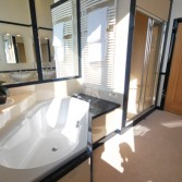 Diamond shaped bath used in this design to maximise the space and layout. Large shower with seat seperate.