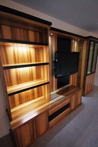 Media unit with Wallnut and black satin finish