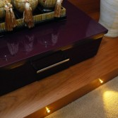 Bedside drawers in purple 'Aubergine' high gloss - dinky and useful.
