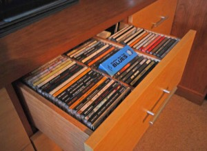Drawer for CD's in real wood finish.