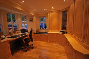 Home office furniture in bright wood finish.