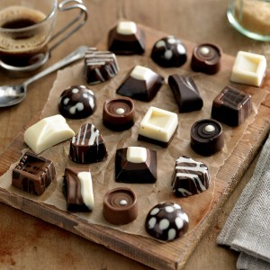 Home made chocolates in milk, dark and white chocolate.