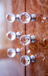 Sworovski crystal handles on Burr Maple door