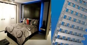 Lattice style radiator - 2 radiators either side of bed area.