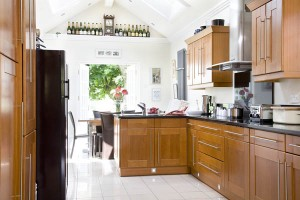 Large oak and granite style kitchen