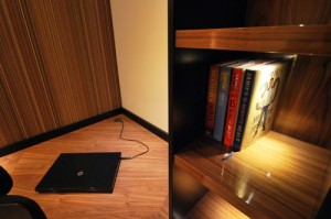 Fitted home office furniture with LED lighting.