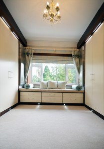 Bespoke fitted furniture for dressing room