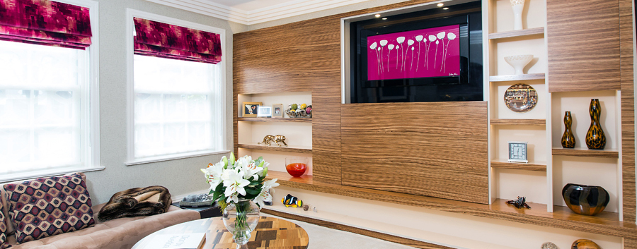 Bespoke-media-unit-made-to-order-using-real-wood-veneers home cinema