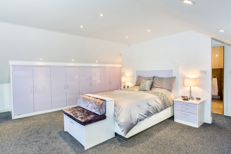 Romantic lilac high gloss bedroom - fully bespoke and made to measure