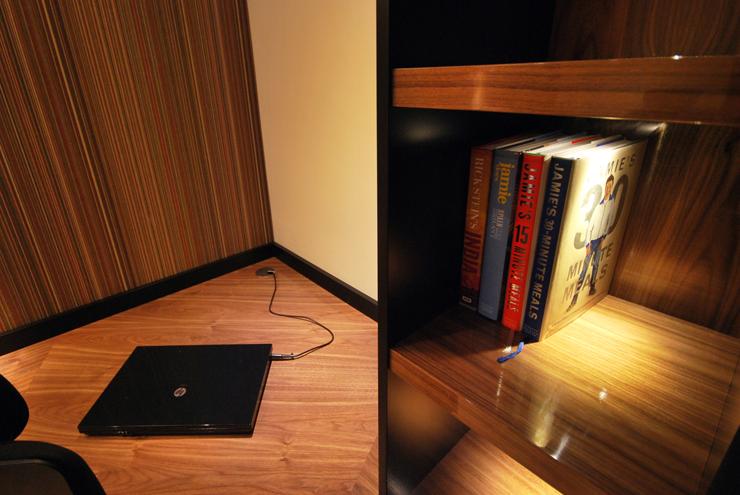 Bespoke double desk home office in black walnut high gloss.