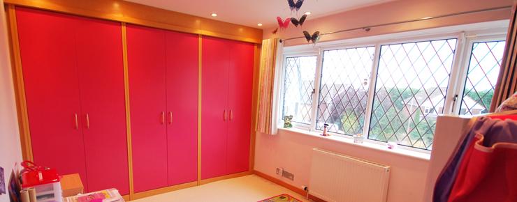 Pink kids bedroom furniture - pink wardrobes