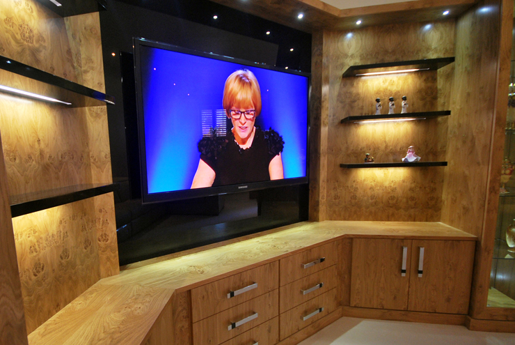 Beautiful home cinema in real wood veneers pippy oak