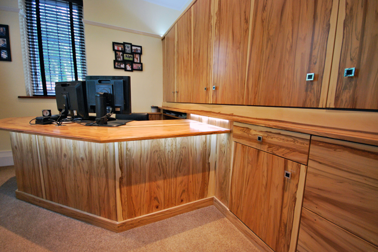 Custom home office furniture hand made using real wood exotic veneers such as natural walnut