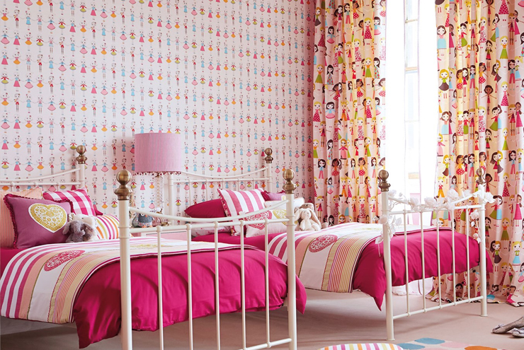 Bright fun kids wallpaper from Harlequin in the 'All About me' range. Pink paper with doll decorations