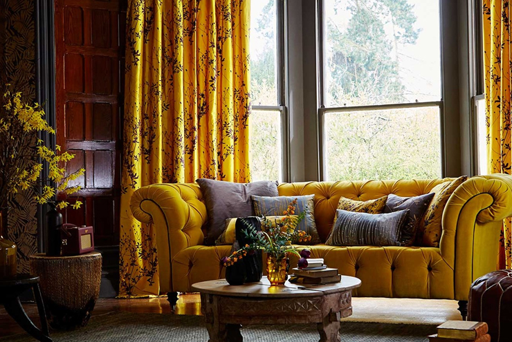 Bright yellow and mustard fabric from Harlequin