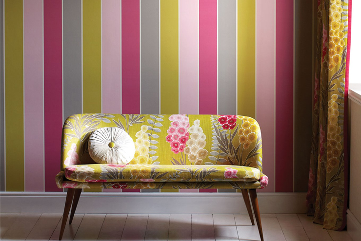 Harlequin wallpaper from the Delphine range - block stripe wallpaper 'Camille' from Harlequin