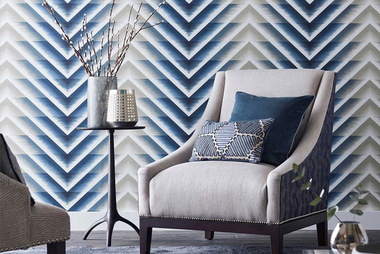 Statement wallpaper from Harlequin - blue chevron wallpaper from the momentum range