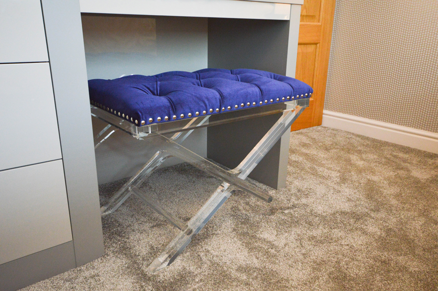 Grey gloss perspex and purple bedroom stool